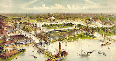 Christopher Columbus Drawing - Grand Birds Eye View Of The Grounds And Buildings by Litz Collection