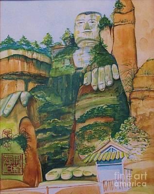 Large Buddha Painting - Grand Buddha Leshan China by Beth Fischer