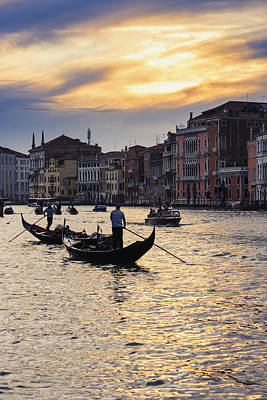 Ponte Rialto Photograph - Grand Canal At Sunset Venice, Italy by Yves Marcoux