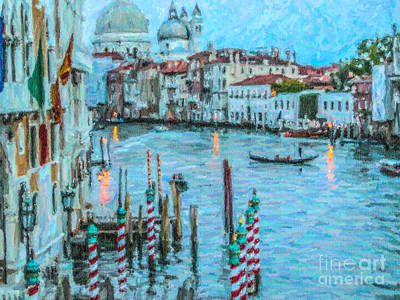 Architecture Digital Art - Grand Canal Blue Hour by Liz Leyden