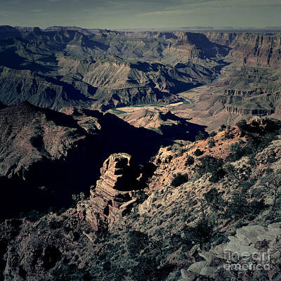 Digital Art - Grand Canyon Eastern Sunset View Square Lomo by Shawn O'Brien