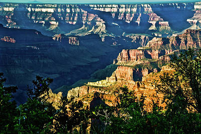 Grandview Digital Art - Grand Canyon  Golden Hour On Angel Point by Bob and Nadine Johnston