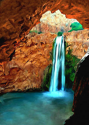 Painting - Grand Canyon Havasu Falls by Bob and Nadine Johnston