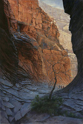 Canyon Painting - Arizona Hike Into Canyon  by Don  Langeneckert
