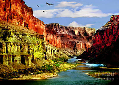 Painting - California Condors Grand Canyon Colorado River by Bob and Nadine Johnston