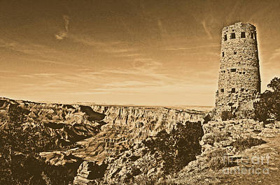 Grand Canyon National Park Mary Colter Designed Desert View Watchtower Rustic Art Print by Shawn O'Brien