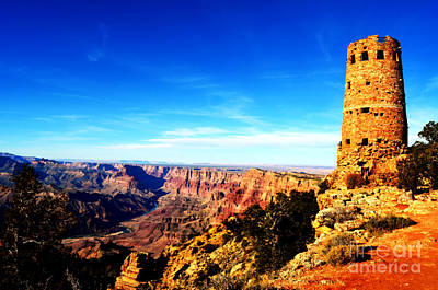 Photograph - Grand Canyon National Park Mary Colter Designed Desert View Watchtower Vivid by Shawn O'Brien