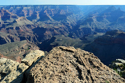 Travel Photograph - Grand Canyon National Park South Rim Ledge Overlooking Plateau Point And Trail To North Rim by Shawn O'Brien