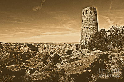 Grand Canyon National Park South Rim Mary Colter Designed Desert View Watchtower Rustic Art Print by Shawn O'Brien