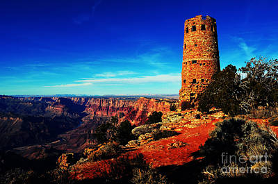 Digital Art - Grand Canyon National Park South Rim Mary Colter Designed Desert View Watchtower Vivid by Shawn O'Brien