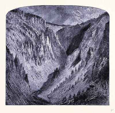 Grand Canyon Drawing - Grand Canyon Of The Yellowstone United States Of America by American School