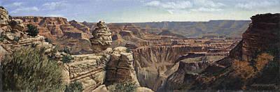 Canyons Painting - Grand Canyon Panaramic by Don  Langeneckert