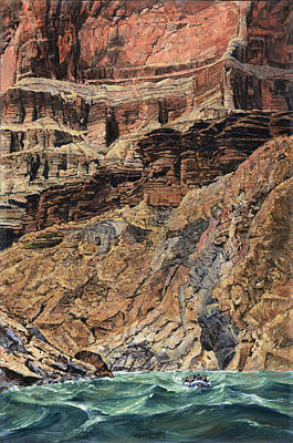 Canyon Painting - Grand Canyon Cliff And Rafts by Don  Langeneckert