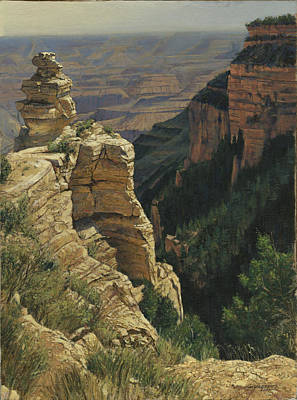 Canyon Painting - Arizona View From The Top by Don  Langeneckert
