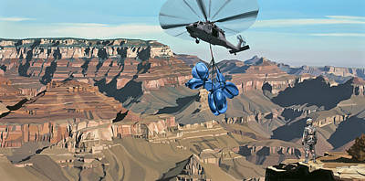 Helicopters Painting - Grand Canyon by Scott Listfield