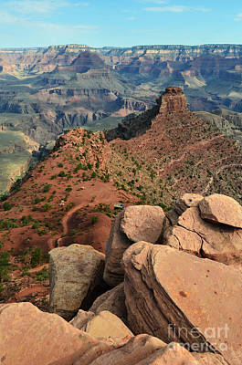 Photograph - Grand Canyon South Kaibab Trail Overlooking Cedar Ridge Vertical by Shawn O'Brien