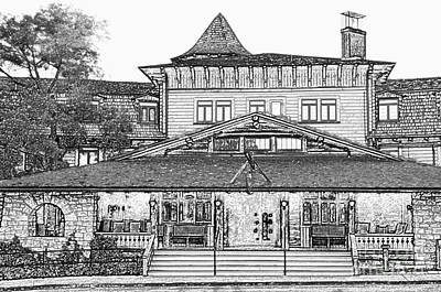 Grand Canyon Village Premier El Tovar Hotel At Dusk Black And White Colored Pencil Art Print by Shawn O'Brien