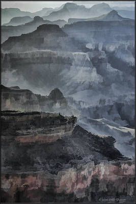 Photograph - Grand Canyon Watercolor by Erika Fawcett