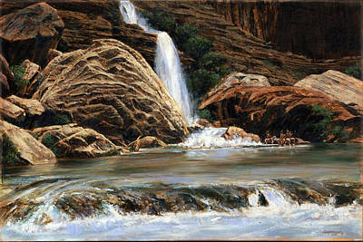 Colorado River Painting - Grand Canyon - Waterfall - Indians by Don  Langeneckert