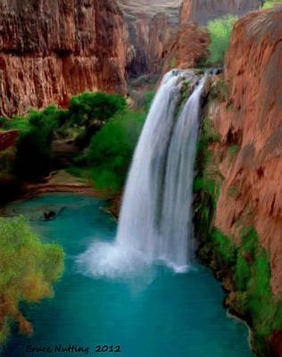 Art Print featuring the painting Grand Canyon Waterfalls by Bruce Nutting