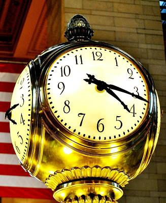 Photograph - Grand Central Clock Nyc by Ron Bartels