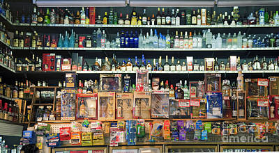 Photograph - Grand Central Public Market Liquor Display Stacked On Shelves Los Angeles Ca by David Zanzinger