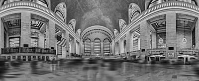 Clocks Photograph - Grand Central Terminal 180 Panorama Bw by Susan Candelario