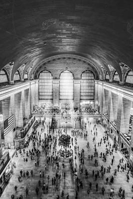 Photograph - Grand Central Terminal Birds Eye View Bw by Susan Candelario