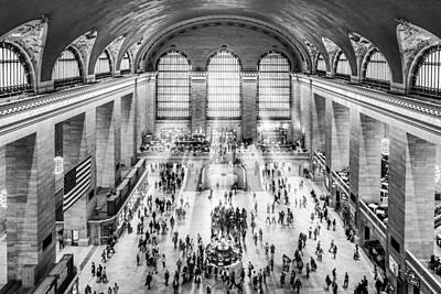 Timeless Photograph - Grand Central Terminal Birds Eye View I Bw by Susan Candelario