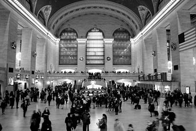 Photograph - Grand Central Terminal Black And White by Robert  Moss