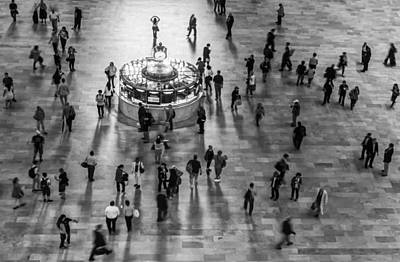 Timeless Photograph - Grand Central Terminal Clock Birds Eye View II Bw by Susan Candelario