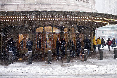 Grand Central Terminal Snow Color Art Print