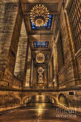 Photograph - Grand Central Terminal Station Chandeliers by Susan Candelario