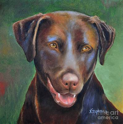 Chocolate Labrador Retriever Painting - Grand Dog by Nina Stephens