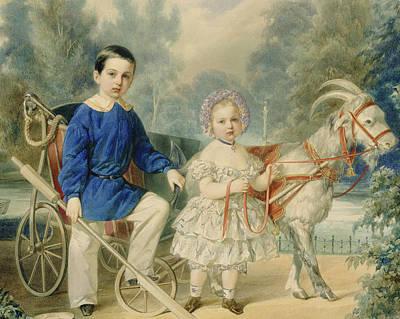 Russia Painting - Grand Duke Alexander And Grand Duke Alexey As Children by Vladimir Ivanovich Hau