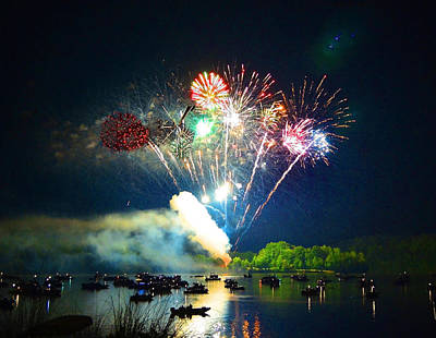 Grand Finale Over The Lake Art Print by Sandi OReilly