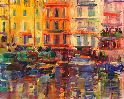 Abstract Impressionism Painting - Grand Harbor, Cannes  by Peter Graham
