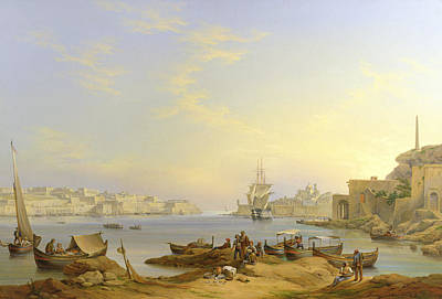 Valletta Painting - Grand Harbour, Valletta, Malta, 1850 by John or Giovanni Schranz