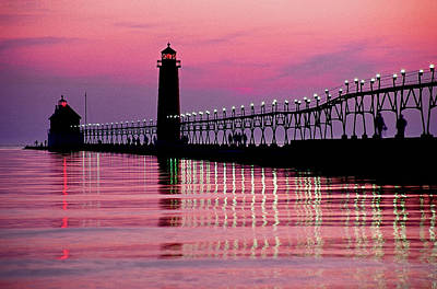 Grand Haven Light Art Print by Dennis Cox WorldViews