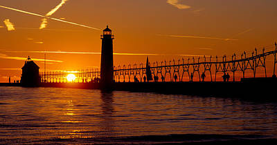 Grand Haven Lighthouse At Sunset, Grand Art Print