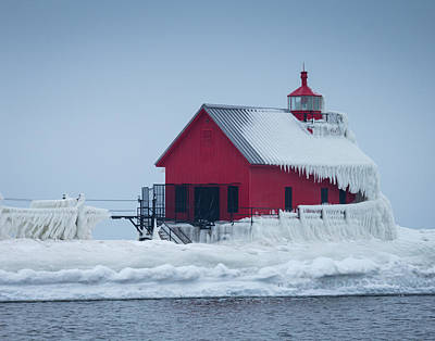 Photograph - Grand Haven Lighthouse Encased In Ice by Kimberly Kotzian