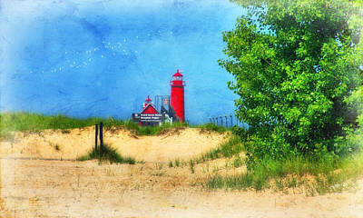 Grand Haven Lighthouse Art Print by Joan Bertucci