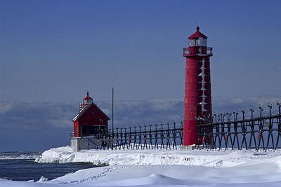 Lucille Ball - Grand Haven Michigan Lighthouse in Winter by Randall Nyhof