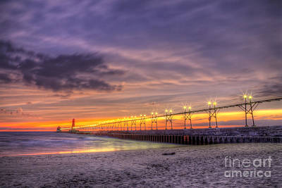 Grand Haven Sunset Art Print by Twenty Two North Photography