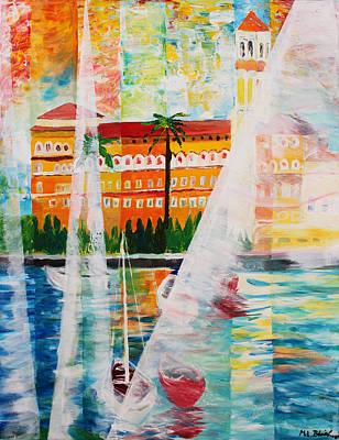 Grand Hotel  In Gardone Riviera In Sunlight Art Print by M Bleichner