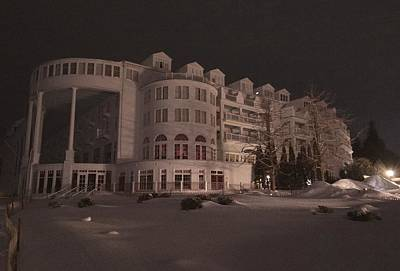 Grand Hotel On A Winter Night Art Print