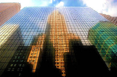 Grand Hyatt Hotel With Reflection Of The Chrysler Building  Art Print by Lanjee Chee
