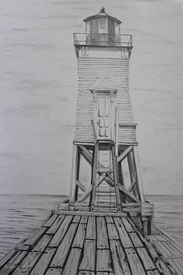 Lighthouse Drawing - Grand Marais Outer Lighthouse by Carol Frances Arthur