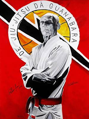 Grand Painting - Grand Master Helio Gracie by Brian Broadway