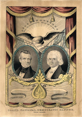 Cornucopia Drawing - Grand National Democratic Banner. Press Onward N. Currier by Litz Collection
